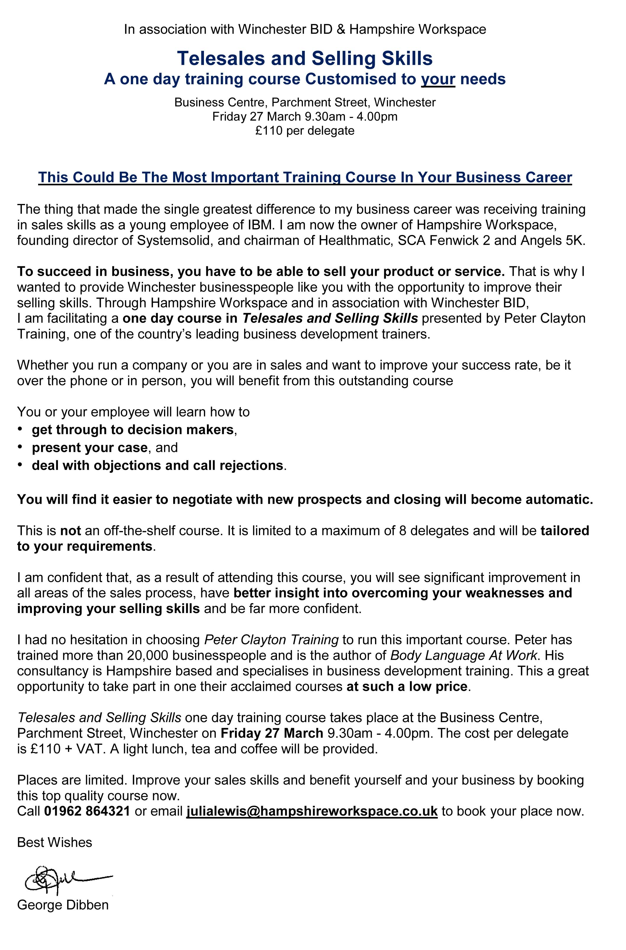 final places reduced cost bespoke telesales and selling skills